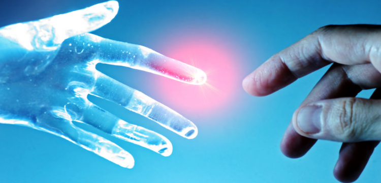 Image of two hands meeting one Ai and one Human.