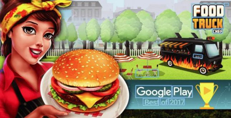 Image of food truck and a women holding a plate with a burger on it.