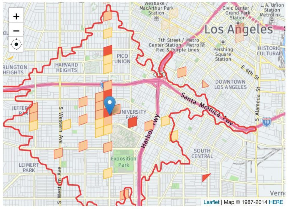 Image of Catchment Area of Los Angeles showing hardware shops.