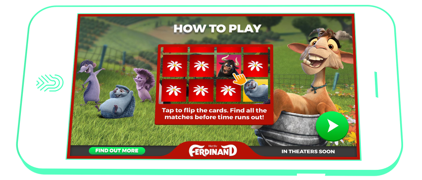 A screenshot of the in-app campaign used to promote 20th Century Fox International's major motion picture, Ferdinand
