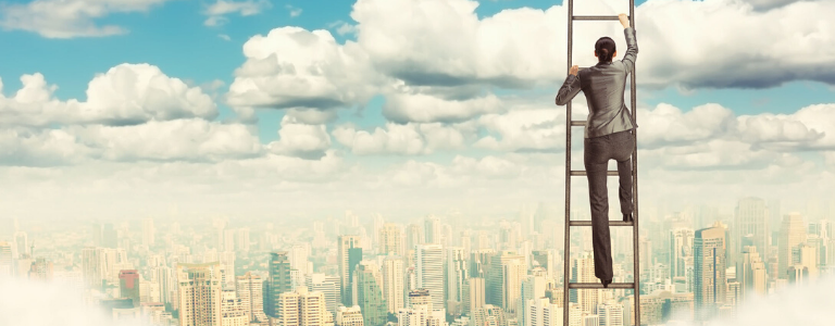 Image of women climbing ladder into the sky with cityscape below
