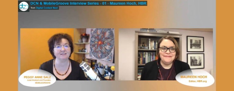 Image of video interview with Maureen Hich, HBR. Hosted by Peggy Anne Salz.