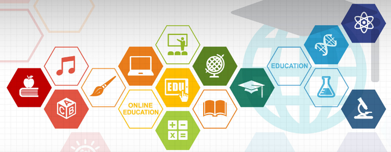 Image of several hexagons with educational icons within the shape